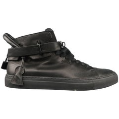 Men's BUSCEMI Size 11 Black Leather Padlock 100mm High Top Sneakers