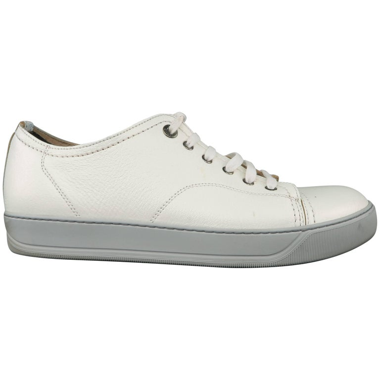 Men's LANVIN Size 9 Iridescent White Textured Leather Grey Sole Low Top Sneakers
