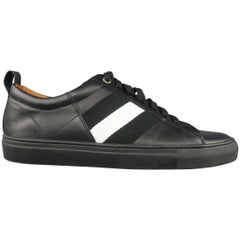 BALLY Size 7 Black LeatherWhite Canvas Stripe Low Top Sneakers