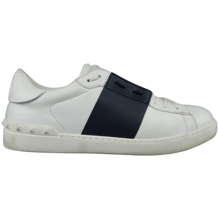 48573205de031 VALENTINO Size 12 White   Navy Color Block Leather Open Sneakers For Sale