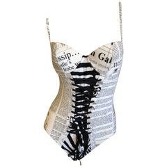 "John Galliano Vintage ""Gossip"" Newspaper One Piece Swimsuit Corset Lace Details"