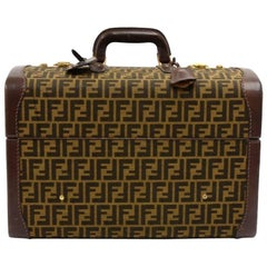 Fendi Vintage Tobacco Zucca Jacquard Carry On Train Case