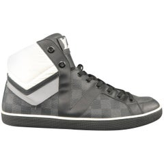 LOUIS VUITTON Size 10 Black & Gray Damier Leather Reflective High Top Sneakers