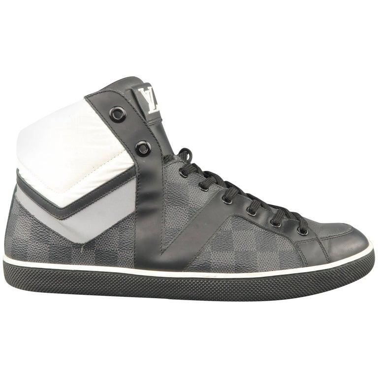 85be27d2c4a Men's LOUIS VUITTON Sneaker 10 Black & Gray Damier Leather Reflective High  Top