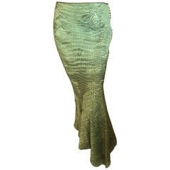 John Galliano Vintage Silk Green Alligator Print Fishtail Skirt