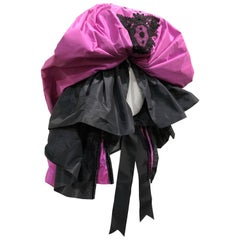 Merry Widow Corselet W/ Pink & Black Silk Taffeta Ruffles W/ Ribbon Tie