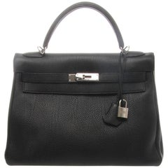 Hermès Kelly Retourne 32cm Black Veau Togo with Silver Hardware