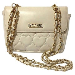 MOSCHINO Vintage ivory white heart shape stitch shoulder bag / Fanny pack, 1990s