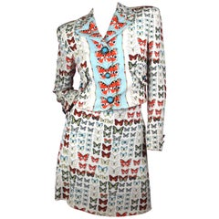 Gianni Versace Spring Summer 1995 Butterfly Print Skirt Suit Size IT 42 / US 6