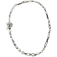CHANEL Necklace-belt in White and Transparent Molten Glass