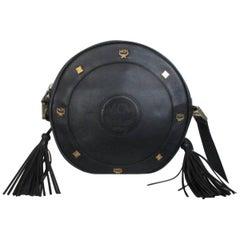 mcm round black leather cross body bag, 1990s