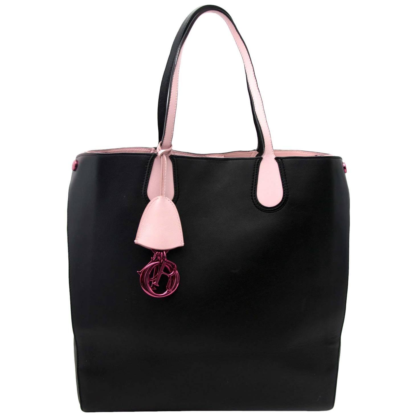 Dior Black Pink Leather Logo Charm Addict Vertical Tote Bag