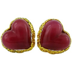 Chanel Vintage Poured Glass Heart Earrings, 1993