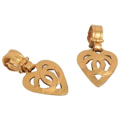 CHANEL Vintage Gold Metal Logo HEART Dangle Clip On EARRINGS