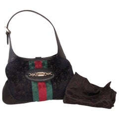 GUCCI Limited Edition Black Cut Out Velvet Hobo JACKIE O Bag