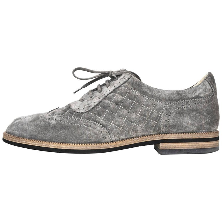 20d26aa7cdd0a Chanel Grey Perforated Quilted Suede Oxford's Sz 42 with Box For Sale