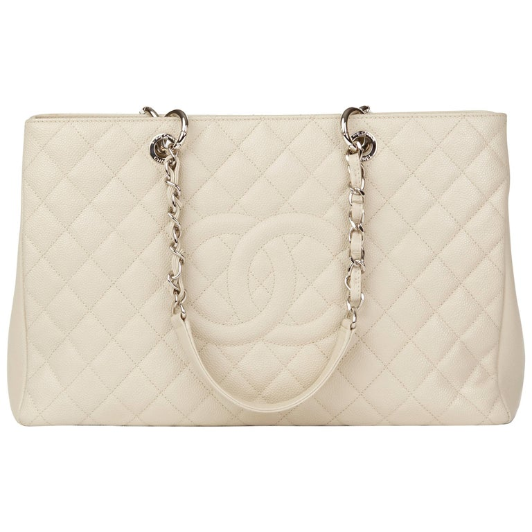 d8af64fb23e5 Chanel Off-White Quilted Caviar Leather Grand Shopping Tote XL For Sale.