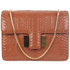 TOM FORD Tan Snakeskin SIENNA Structured Shoulder Bag