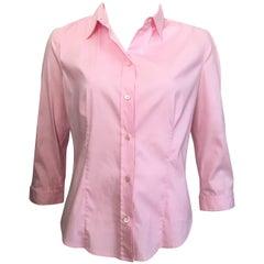 Prada Cotton Pink Button Up Blouse Size 10 / 48.