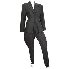 Jean Paul Gaultier Grey Suit with Lace Up Jodhpur Pants, 1980s