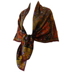 1980s Gucci Wool & Silk Asian Inspired Printed Shawl