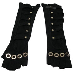 2008's Chanel Long Perforated Fingerless Gloves in Black Suede Leather XS Size