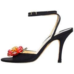Jimmy Choo Black Red Crystal Flower Sandals Sz 36.5 with Box, DB