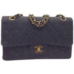 Chanel Grey Wool Shoulder Bag