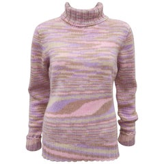 1980's Missoni Pastel Cashmere Op Art Turtleneck Sweater