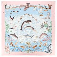 Pink Hermes Silk Scarf   La Vie Précieuse de la Méditerranée