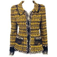 Romantic Oscar de la Renta Yellow, Black and Beige Wool Blend Tweed w/ Lace Trim