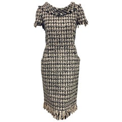 Oscar de la Renta Black, Beige and Gold Tone Tweed Collar with Fringe Dress