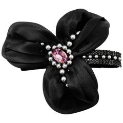 Philip Treacy Black Crystal & Faux Pearl Hair Barrette with Box & Receipt