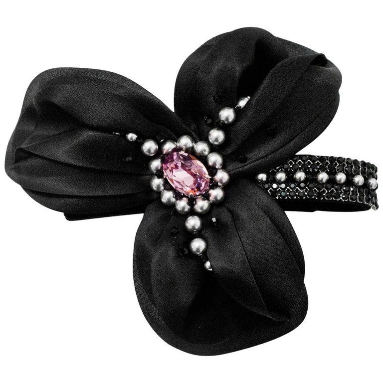 Philip Treacy Black Crystal & Faux Pearl Hair Barrette with Box & Receipt