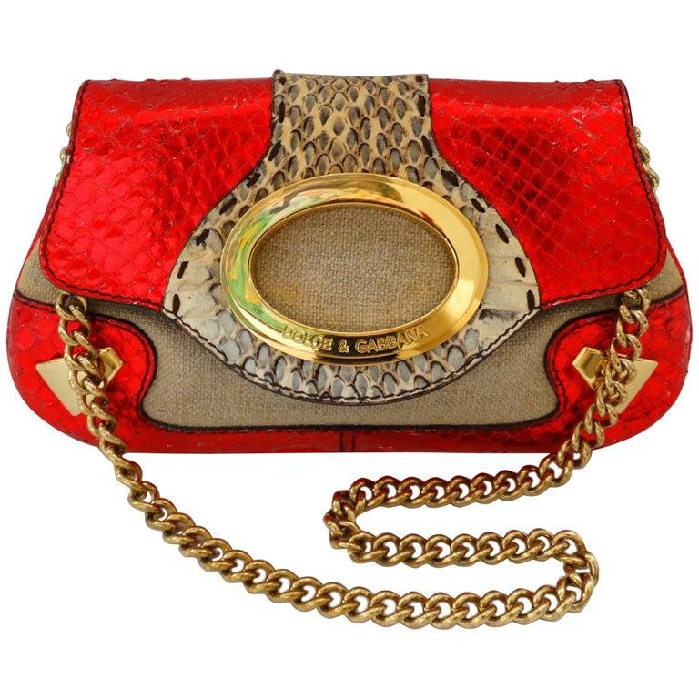 Dolce & Gabbana Metallic Snakeskin Mini Bag