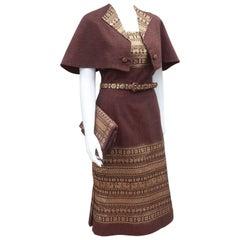 1950's Brown & Gold Linen Dress With Capelet & Handbag
