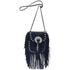 Singular Saint Laurent Black Anita Flat Leather Bag with Fringe