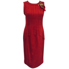 Oh la la Oscar de la Renta Red Wool Tweed Dress with Flower Corsage Ornament