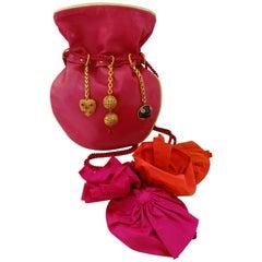 1990s Dominique Aurientis Pink Leather Charm Bag