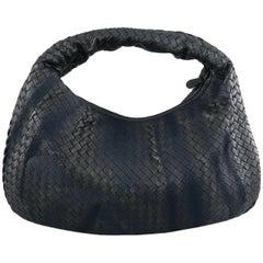 Bottega Veneta Black Intrecciato Leather Shadow Embroidered Nappa Hobo Bag