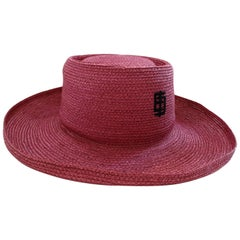 1960s Emilio Pucci Magenta Raffia Boater Hat