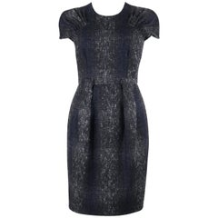 PRADA A/W 2009 Navy Blue & Gray Plaid Boucle Wool Pleated Shift Cocktail Dress