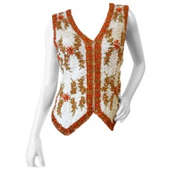 1960s Valentina Ltd Sequin Beaded Zip Up Vest