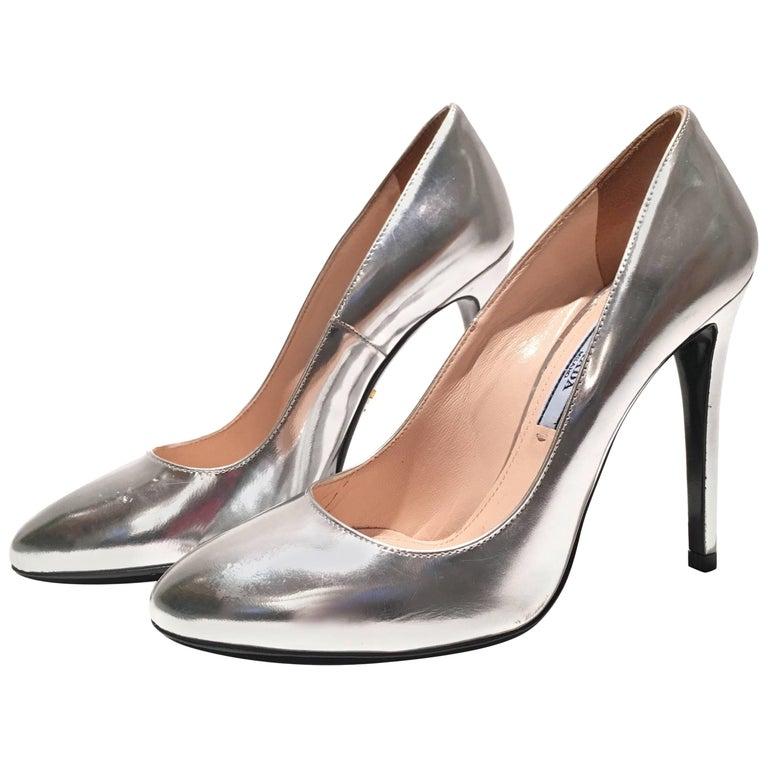 Prada Silver Metallic Heels For Sale