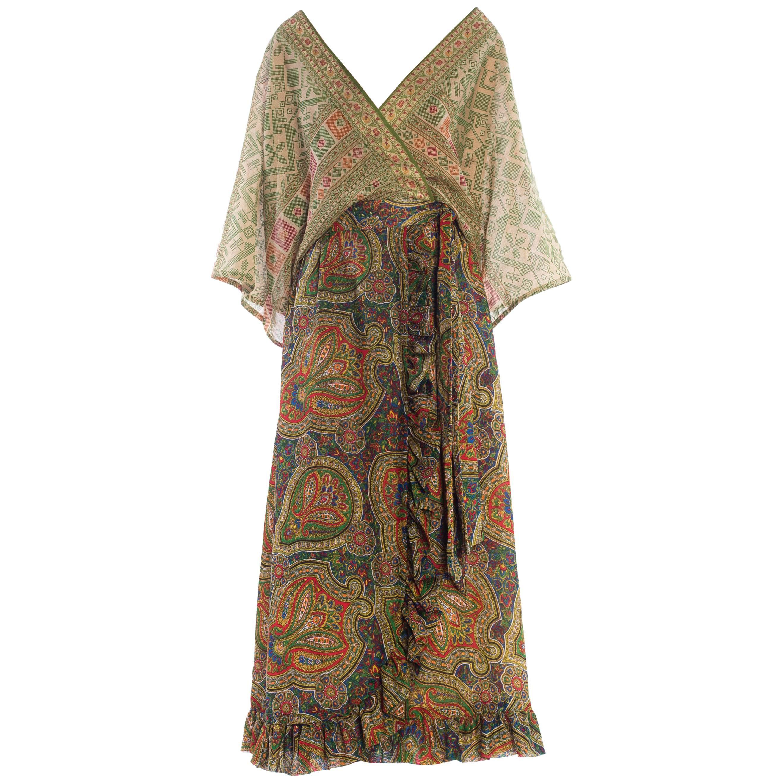MORPHEW COLLECTION Silk & Cotton Indian Paisley Wrap Maxi Dress