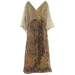Paisley Print Wrap Dress with Antique Indian Sari Top