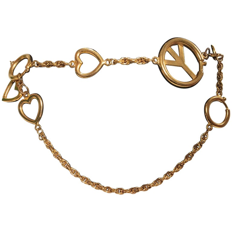 Moschino Gold Charm Chain Belt For Sale