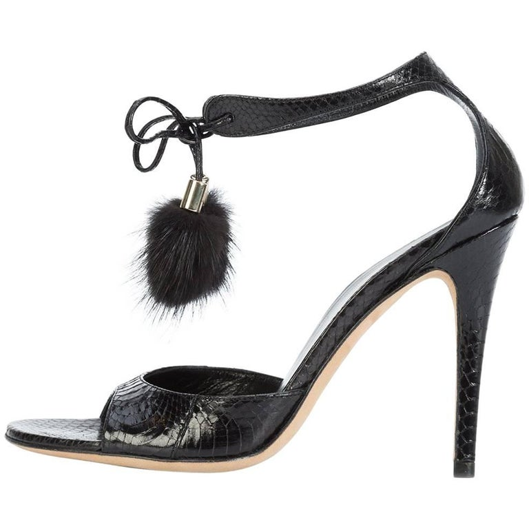 Gucci New Black Embossed Snakeskin Fur Pom Pom Evening Sandals Heels in Box