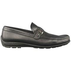 Men's SALVATORE FERRAGAMO Size 11 Black Leather Embossed Strap Driver Loafers