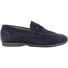Men's SALVATORE FERRAGAMO Size 10.5 Navy Suede Apron Toe Penny Loafers